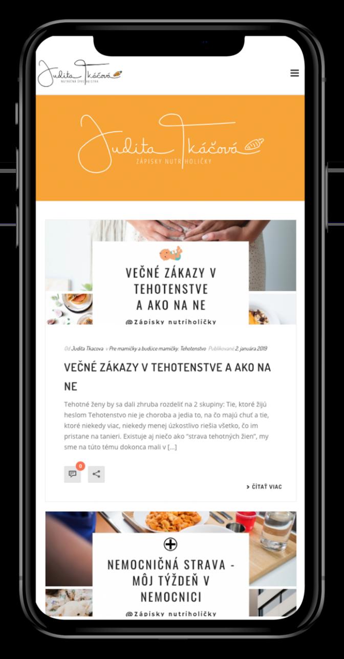 Web stránky Judity Tkáčovej pre mobilné zariadenia